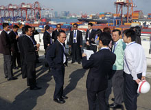 At the container terminal