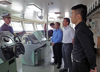 Observing the steering room of the training ship Miura