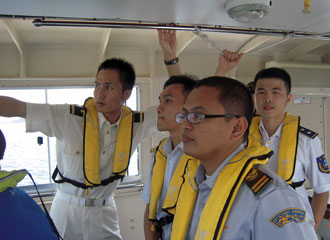 Participants on the training boat
